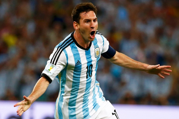 File photo of Argentina's Messi celebrating scoring a goal against Bosnia during their 2014 World Cup Group F soccer match at the Maracana stadium in Rio de Janeiro