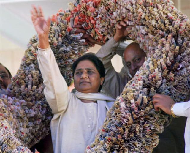 mayawati-garlanded-again-with-currency-notes-worth-rs-18-lakh